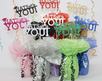 Hats Off to You Graduation Decoration, Available in 8 Glitter Card Stock Colors, Graduation Centerpiece Sign, Graduation Photo Prop