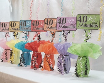 40 and Fabulous, 40th Birthday Decorations, Available in 9 colors, 40th Centerpiece Sign