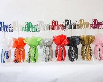 40 and Fabulous, 40th Birthday Decoration, Available in 8 Glitter Colors and additional ages, 40th Birthday Centerpiece Sign