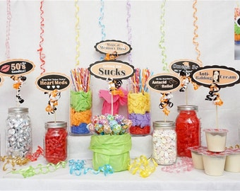 60th Candy Buffet Signs available in 9 colors, 60th Birthday Decorations, 60th Party Decor, 60th Centerpiece Signs with Scallop Border