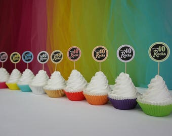 40 Rocks cupcake Toppers, available in 9 Colors, 40th Birthday Decoration, other ages available