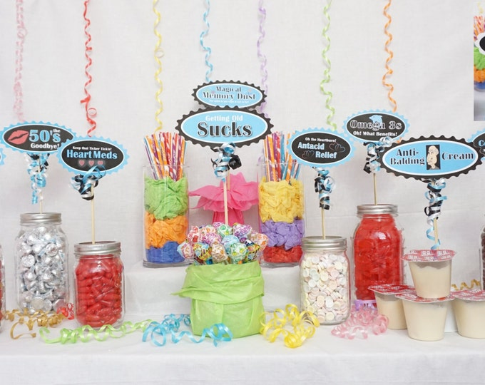 Featured listing image: 60th Candy Buffet Signs available in 9 colors, 60th Birthday Decorations, 60th Party Decor, 60th Centerpiece Signs with Crank Border