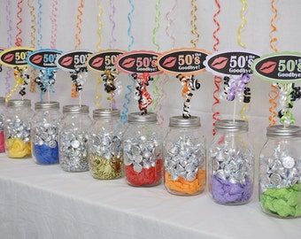60th Birthday Kiss the 50s Goodbye Centerpiece Sign available in 9 Colors, 60th Candy Buffet, 60th Birthday Sign with Scallop Border