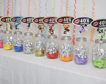 50th Birthday Kiss the 40s Goodbye Centerpiece Sign available in 9 Colors, 50th Candy Buffet, 50th Birthday Sign with Smooth Border