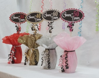 Cheers to 50 Years, 50th Birthday Centerpiece Sign, Glitter Sign available in 7 colors and additional ages, 50th Birthday Decoration