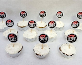 60th Birthday Kiss the 50s Goodbye Cupcake Toppers in 9 Colors, 60th Birthday Decorations, Additional Ages Available