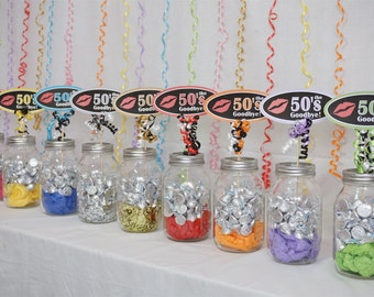 60th Birthday Kiss the 50s Goodbye Centerpiece Sign available in 9 Colors, 60th Candy Buffet, 60th Birthday Sign with Smooth Border