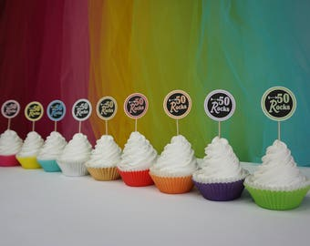 50 Rocks Cupcake Toppers, Available in 9 Colors, 50th Birthday Cupcake Toppers, 50th Birthday Decoration, other ages available