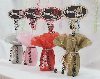 Cheers to 40 Years, 40th Birthday Centerpiece Sign, Glitter Sign available in 7 colors and additional ages, 40th Birthday Decoration