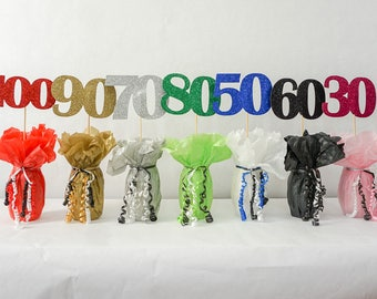 "50 Sign, 50th Birthday Decoration, Available in 7 Glitter Colors and 3 Sizes 6"" 5"" 4"" Wide, 50th Birthday Centerpiece Sign"