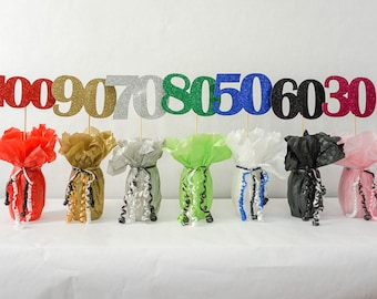 "60 Sign, 60th Birthday Decoration, Available in 7 Glitter Colors and 3 Sizes 6"" 5"" 4"" Wide, 60th Birthday Centerpiece Sign"