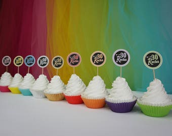 30 Rocks Cupcake Toppers, Available in 9 Colors,  30th Birthday Cupcake Toppers, 30th Birthday Decoration, other ages available