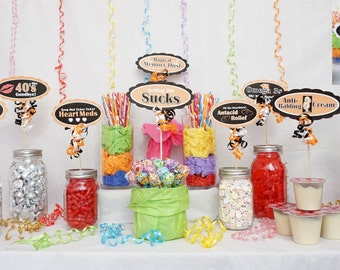 50th Candy Buffet Signs available in 9 colors, 50th Birthday Decorations, 50th Party Decor, 50th Centerpiece Signs with Scallop Border