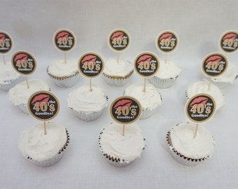 50th Birthday Kiss the 40s Goodbye Cupcake Toppers in 9 Colors, 50th Birthday Decorations, Additional Ages Available