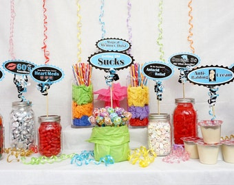 70th Candy Buffet Signs available in 9 colors, 70th Birthday Decorations, 70th Party Decor, 70th Centerpiece Signs with Crank Border