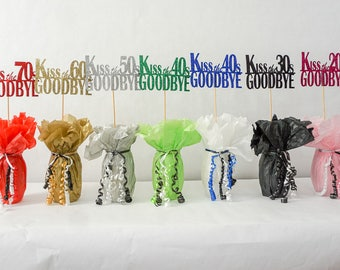 Kiss the 60's Goodbye, 70th Birthday Decoration, Available in 8 Glitter Colors and additional ages, 70th Birthday Centerpiece Sign