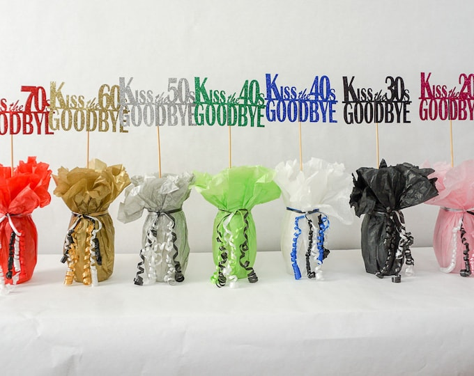 Featured listing image: Kiss the 70's Goodbye, 80th Birthday Decoration, Available in 8 Glitter Colors and additional ages, 80th Birthday Centerpiece Sign