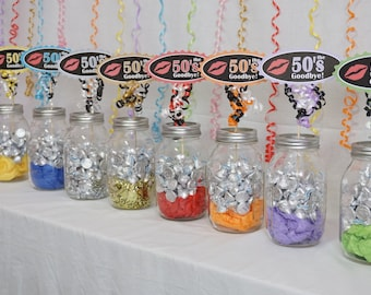 60th Birthday Kiss the 50s Goodbye Centerpiece Sign available in 9 Colors, 60th Candy Buffet, 60th Birthday Sign with Crank Border