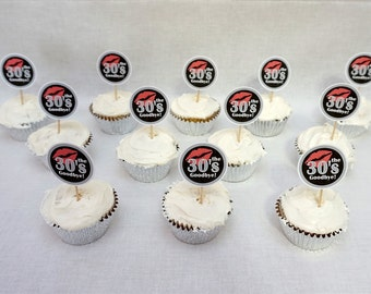 40th Birthday Kiss the 30s Goodbye Cupcake Toppers in 9 Colors, 40th Birthday Decorations, Additional Ages Available