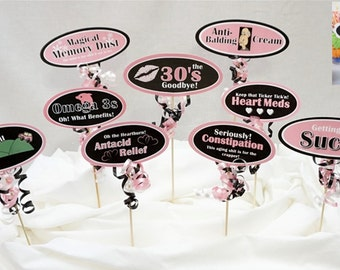 40th Candy Buffet Signs available in 9 colors, 40th Birthday Decorations, 40th Party Decor, 40th Centerpiece Signs with a Smooth Border