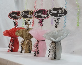 Cheers to 60 Years, 60th Birthday Centerpiece Sign, Glitter Sign available in 7 colors and additional ages, 60th Birthday Decoration