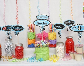 40th Candy Buffet Signs available in 9 colors, 40th Birthday Decorations, 40th Party Decor, 40th Centerpiece Signs with Crank Border