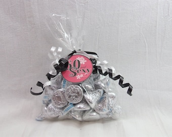 60 and Sexy, 60th Birthday Candy Bag, 60th Birthday Favor Tags in 9 Colors,  Available in 9 colors, 60th Birthday Decoration