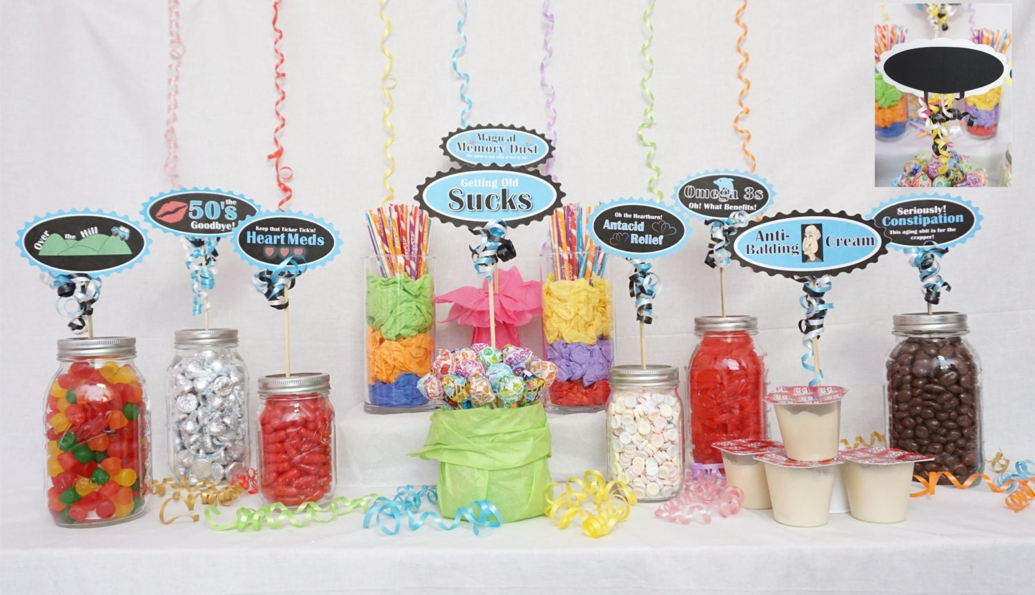 60th Candy Buffet Signs Available In 9 Colors Birthday