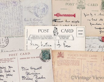 Antique Handwritten Postcards Digital Download Collage Sheet British Early 1900s