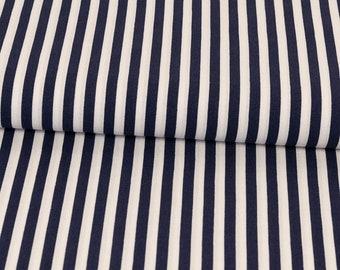 Stoff Sweatshirtstoff French Terry Maritim Schiffchen Kreise Streifen blau weiß