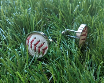 Baseball Cuff Links- Classic- Stainless Steel