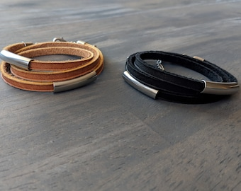 Glove Leather Bracelet- Wrap with Stainless Steel
