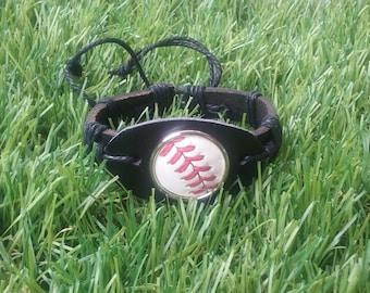 Baseball Leather Cuff Bracelet- Classic