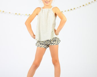 Girl's blueberry bubble shorts, bubble pants, summer shorts