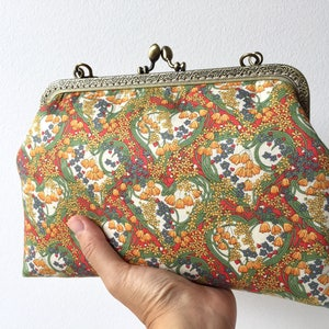 Liberty of London Turquoise Peacocks of Grantham Hall Handstitched Vintage Frame Purse  Frame Makeup Pouch  Gift for her