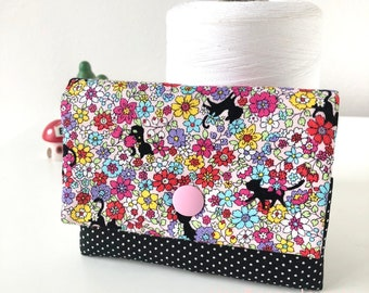 Cute Black Cats Colourful Floral Polka dots Cotton Card Holder//Girls wallet//Gift for Girls
