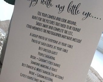 Ivory Wedding Camera I spy poster sign Rustic/vintage/shabby chic style A5