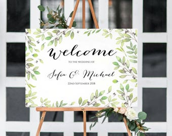 A3 landscape personalised leaf print Welcome to the Wedding' sign -two colours -Backed or Unbacked-FREE UK POSTAGE