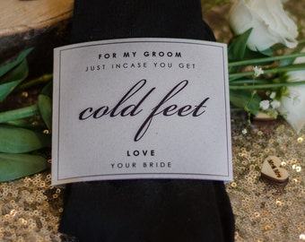 Black 'Groom' Wedding socks- incase of cold feet! With hand made wrap.