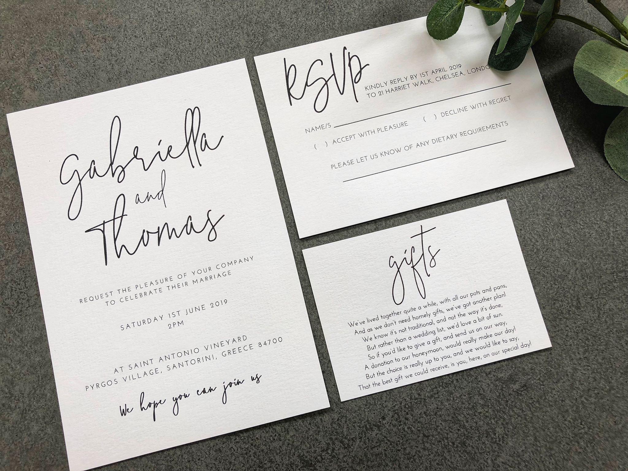 Modern Wedding Invites Uk: Gabriella Modern Calligraphy Style Wedding Invitation