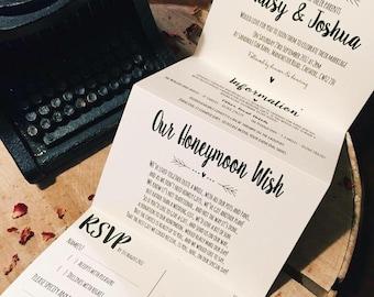 1 Rustic/Vintage/Shabby Chic 'Maisy' Wedding Invitation/card set Sample - Concertina fold