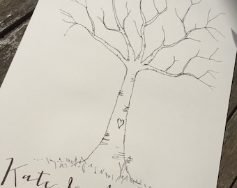 1 Personalised Vintage/Rustic ivory A3 Ivory Fingerprint Tree