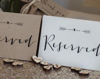 Vintage/Rustic 'Arrow' Wedding Reserved Signs- ivory or brown