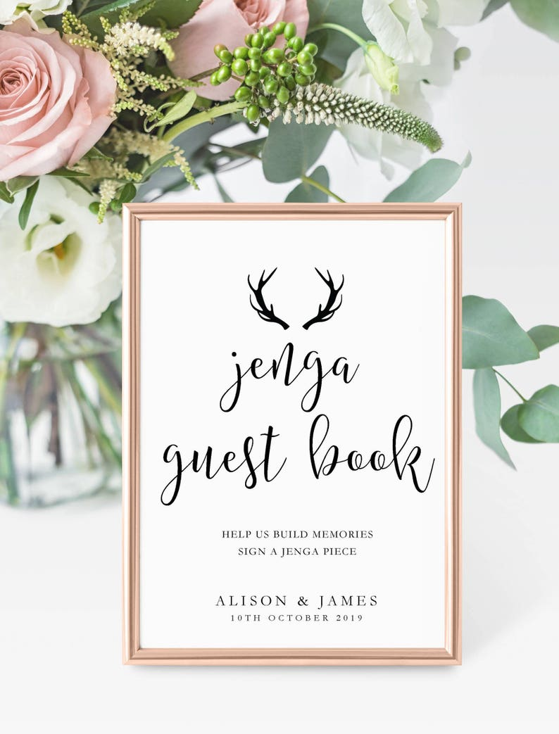 Guest Book Candy Bar Dessert etc Cards some personalised Ivory UNFRAMED Range of Antlers Wedding DayParty SignsStationery Cigar bar