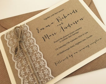 1 vintage/Rustic/Shabby Chic 'Emma' lace Wedding Invitation and RSVP and env SAMPLE