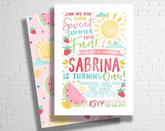 Summer Birthday Invitation | Fruit Invite | Watermelon Birthday Invitation | Pool Party Invitation | Sunshine Invite | DIGITAL FILE ONLY