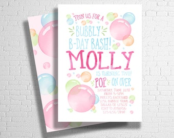 Rainbow Bubble Birthday Invitation | Bubbles Birthday Invite | Bubble Party Invitation | Blowing Bubbles Birthday invite | DIGITAL FILE ONLY