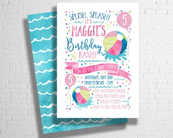 Beach Ball Invitation | Splish Splash | Pool Party Birthday Invite | Birthday Pool Party | Summer Birthday Invitation | DIGITAL FILE ONLY