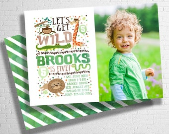 Zoo Birthday Invitation | Zoo Animal Birthday Invite | Safari Birthday Invitation | Let's Get Wild | Animal Birthday  | DIGITAL FILE ONLY