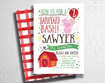 farm birthday invitation barnyard birthday invitation pink etsy